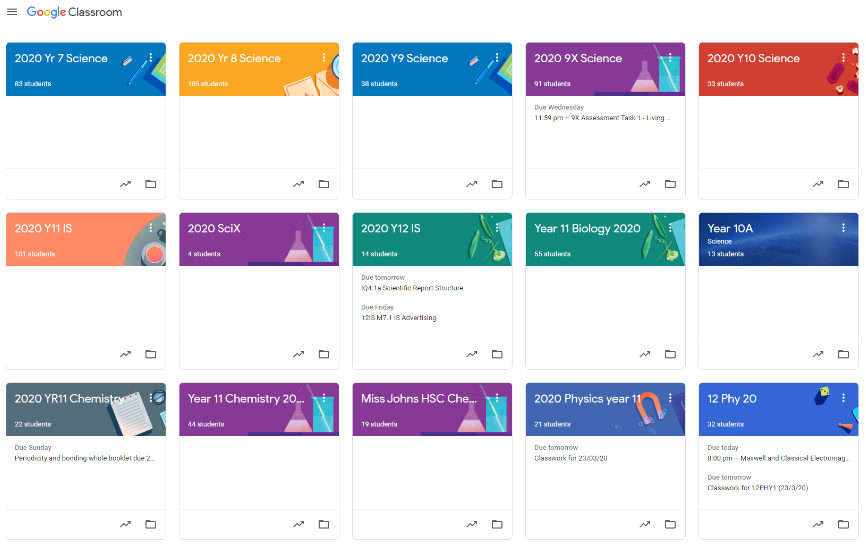 Screenshot of the Google Classroom tiles that students see.