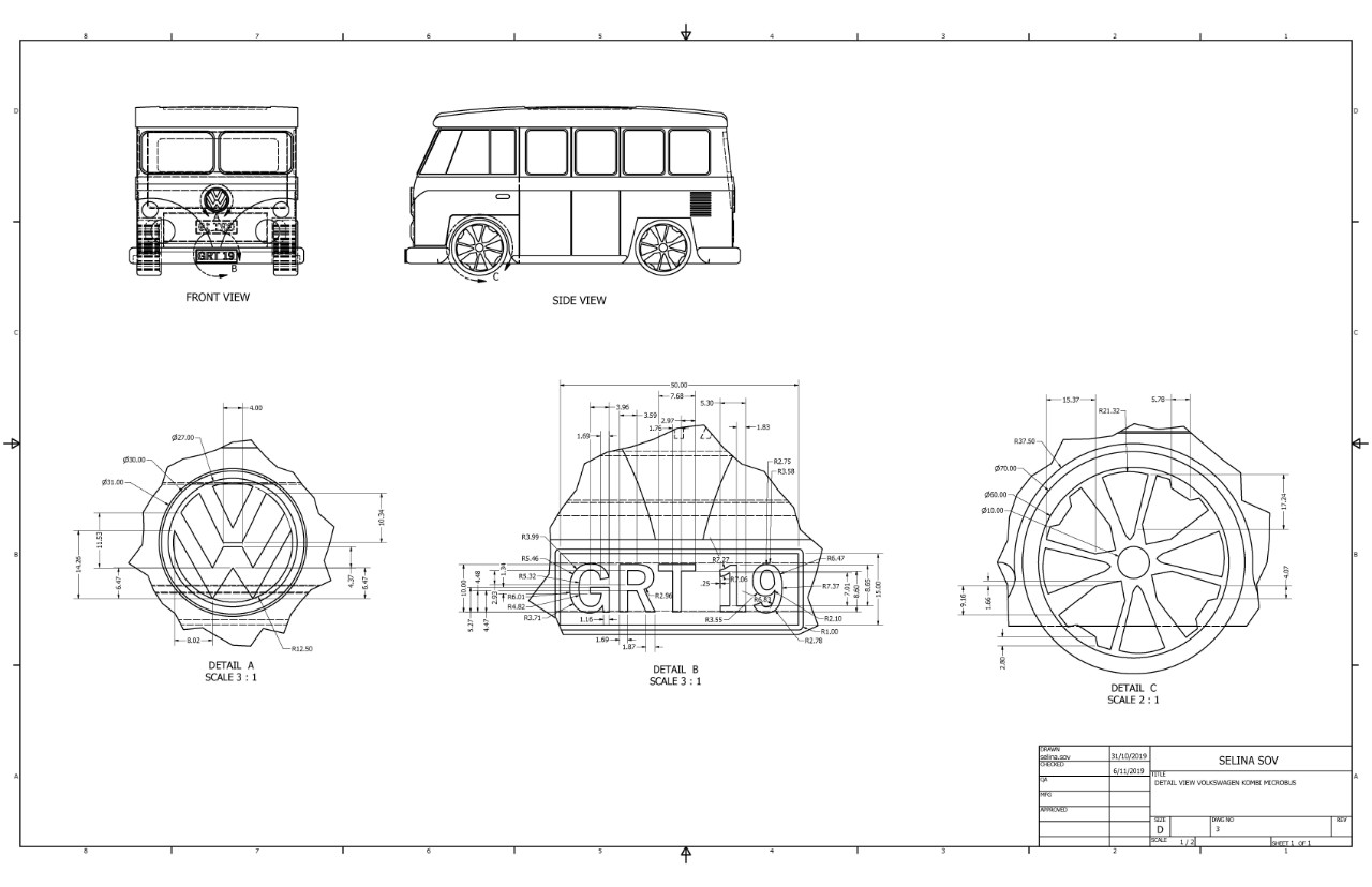 Detailed computer aided technical drawing of a Kombi Van by a student