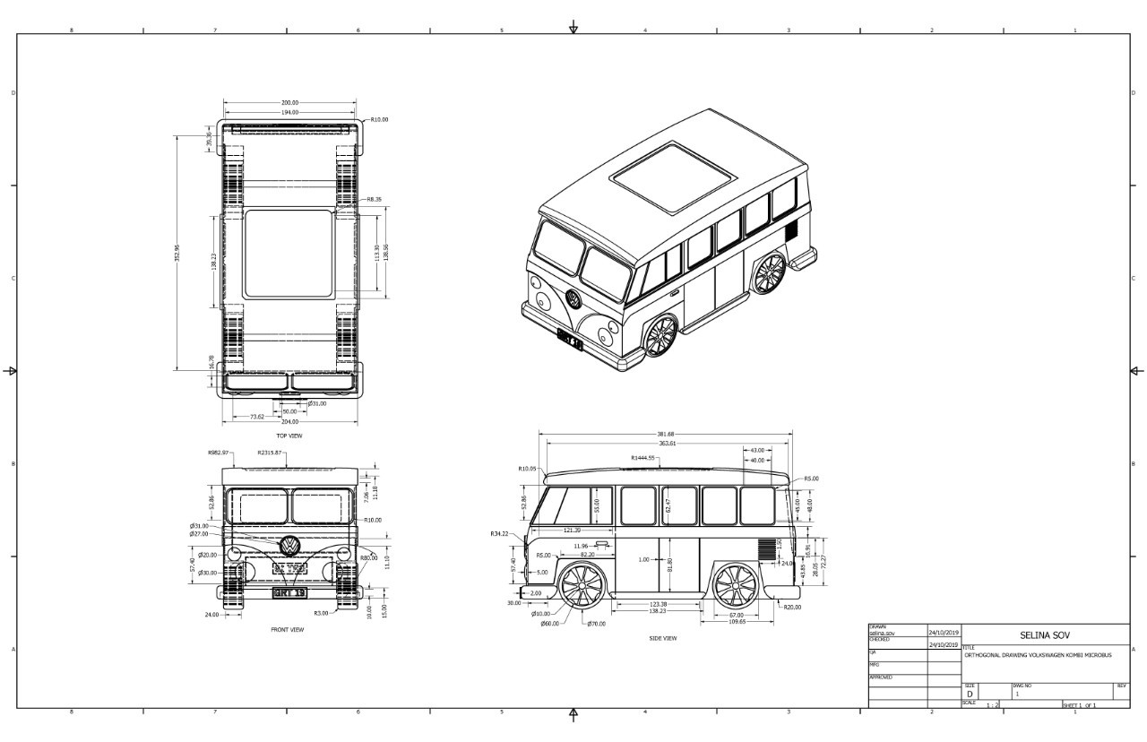 Computer aided technical drawing of a Kombi Van by a student